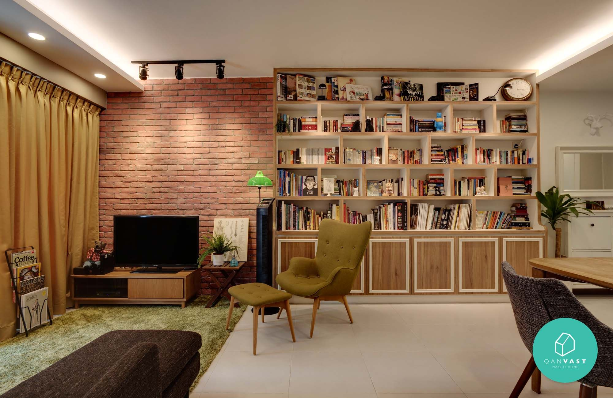 10 most voted hdb/condo homes | brick feature wall, ceiling and bricks