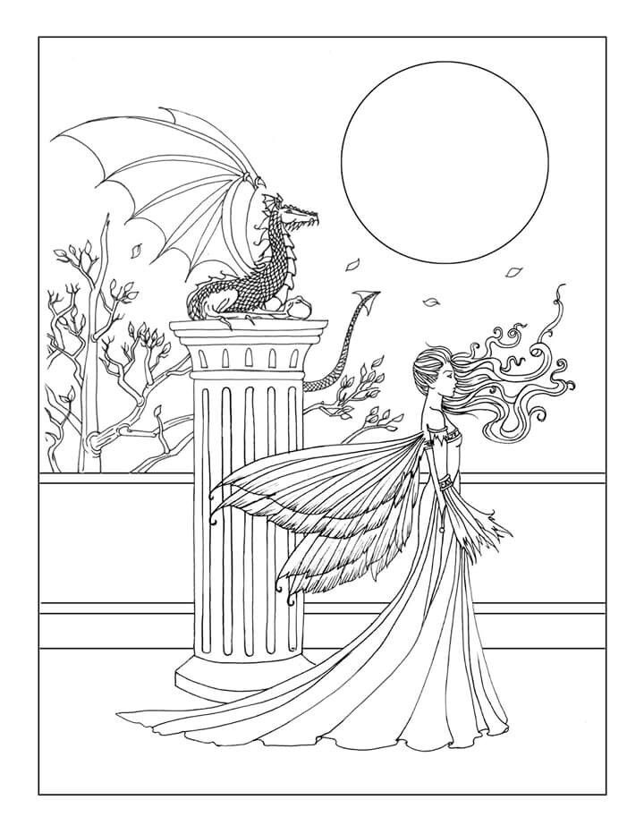 Free Fairy and Dragon Coloring Page by Molly Harrison \