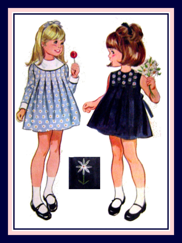 Vintage 1969-Fresh As A  Daisy-Toddler Dress-Sewing Pattern-Three Styles-Daisy Embroidery Motif- Box Pleats-Wide Collar-Bow Tie-Size 3- Rare di FarfallaDesignStudio su Etsy https://www.etsy.com/it/listing/187631321/vintage-1969-fresh-as-a-daisy-toddler