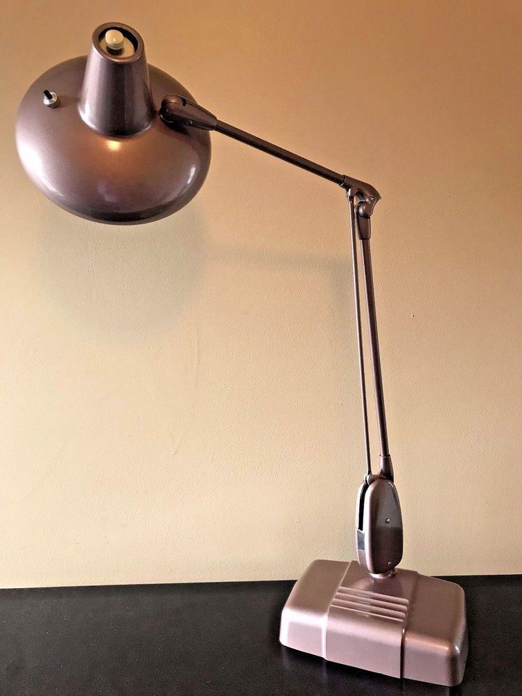 Vintage Dazor Floating Fixture Industrial Fluorescent Combo Desk Lamp 2c 2324