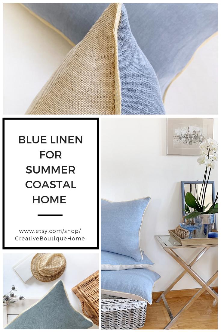 Italian Linen Pillow With Trim Large Lumbar Pillow Cover Blue Pillow Cover For Nautical Decor Large Pillows Long Lumbar Throw Cushion