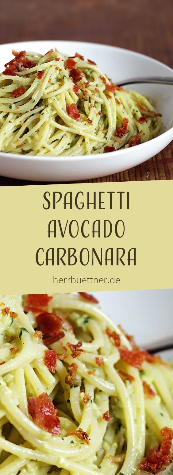 Spaghetti  Avocado Carbonara mit Bacon