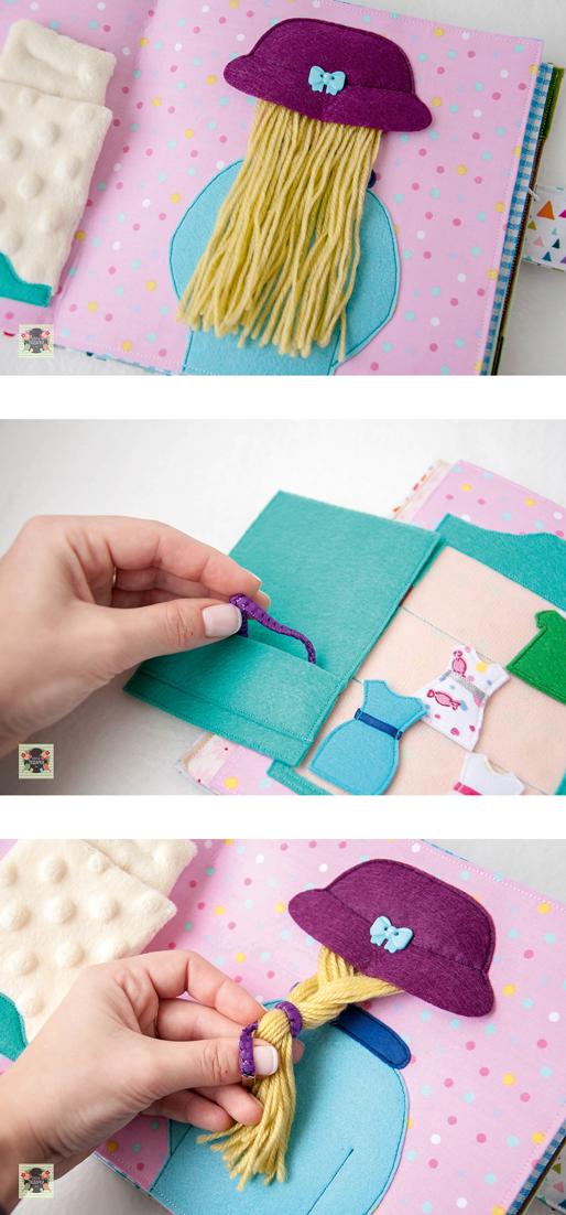 quiet book pages - bedroom, felt doll, hair Добрые подарки: Развивающая книжка для Полинки #dollsdollsdolls