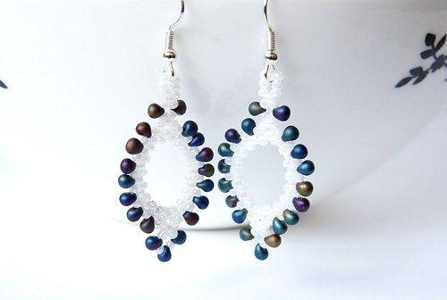 Seed Bead Earrings, Oval Earrings, Leaf Shaped Earring, White ...
