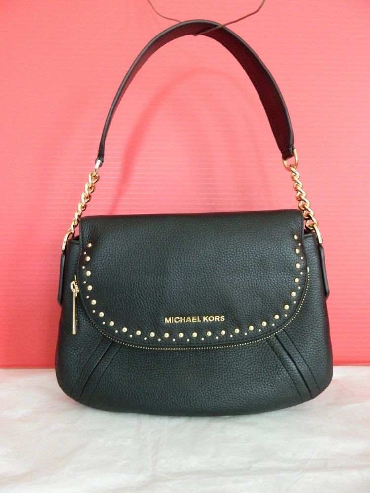 5bdaf03c697d NWT MICHAEL KORS ARIA BLACK LTH STUDDED MD CONVERTIBLE SHOULDER BAG  35T8GXAL2L  fashion  clothing  shoes  accessories  womensbagshandbags ...