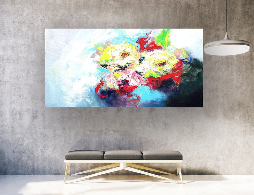 Extra Large Abstract Painting On Canvas Panaromic Wide La0367b