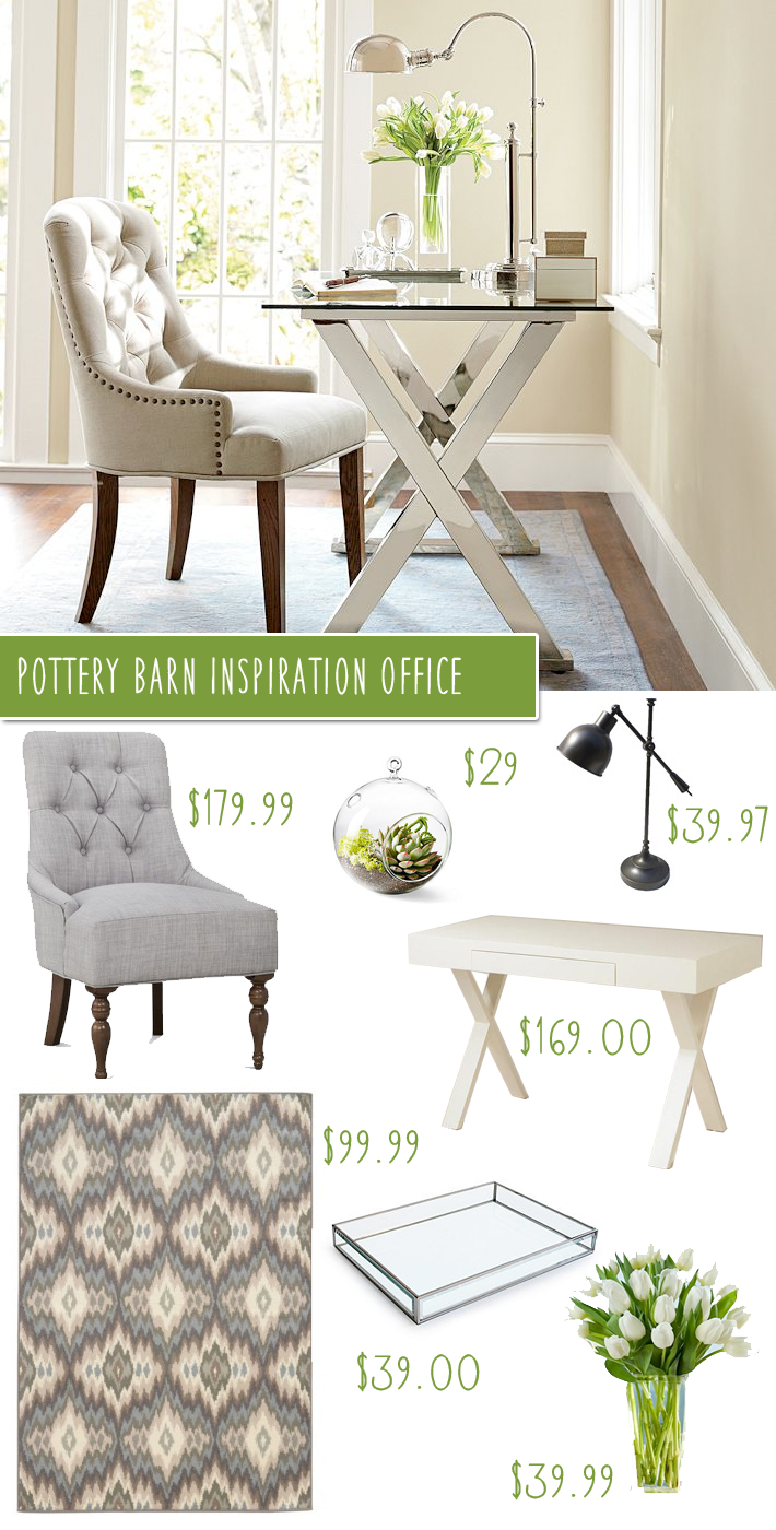 Barn Ava Desk & Tufted Chair Office Makeover on a Budget I'm taking a break today from revealing my daughter & sons shared bedroom, to bring you a post from the designer look on a budget series! Today's inspiration room is a recreation of this Pottery Barn office featuring the Ava Desk & Tufted Arm Chair. I figured it's almost fall and for some re