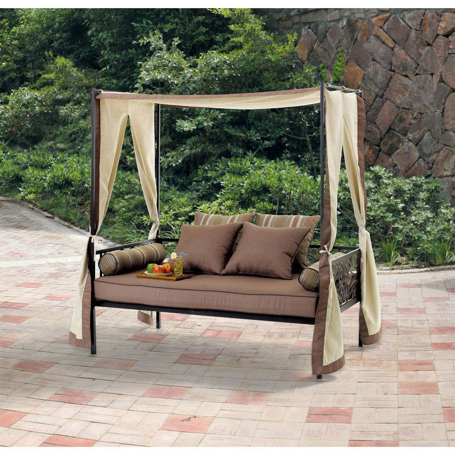 Outdoor patio furniture day bed lounge with canopy sun for Outdoor pool daybeds