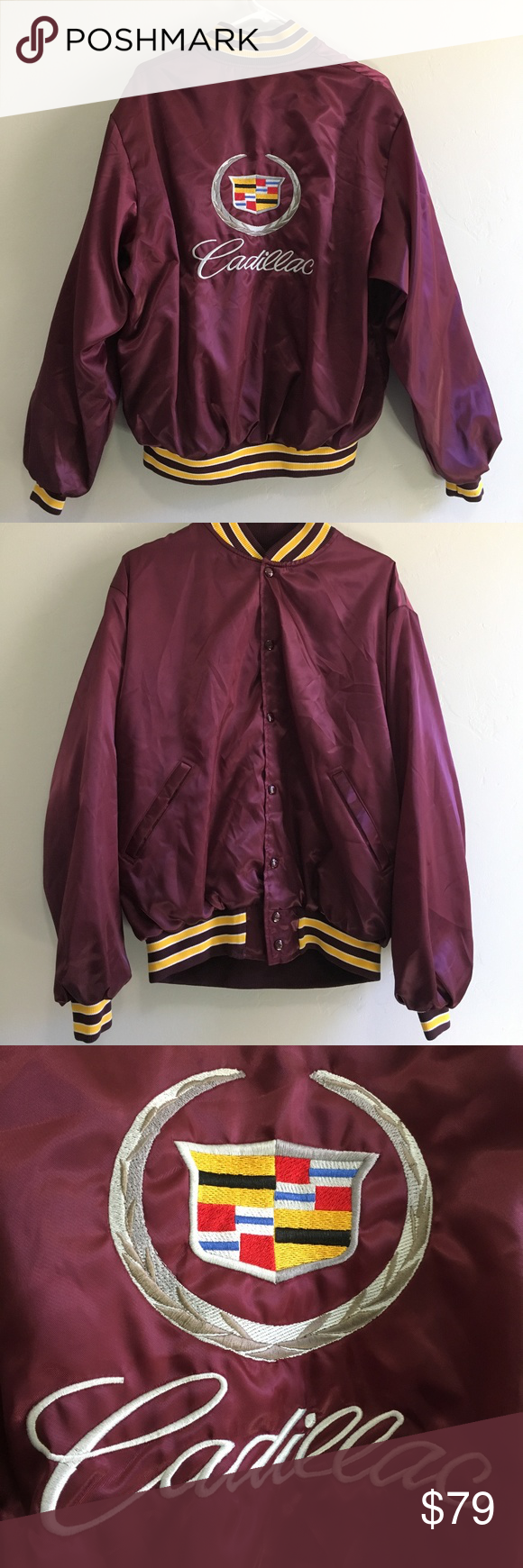 Purple flannel men  Mens Cadillac Logo Baseball Jacket Medium Varsity  My Posh Closet