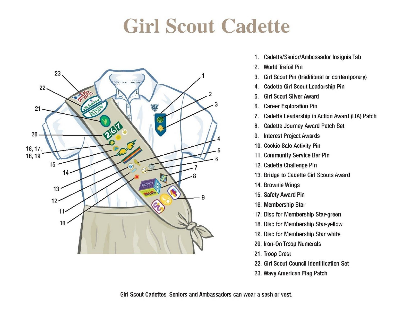 brownie sash diagram carrier 30gx chiller wiring girl 43scout 43cadette 43sash 43layout cadette and vest