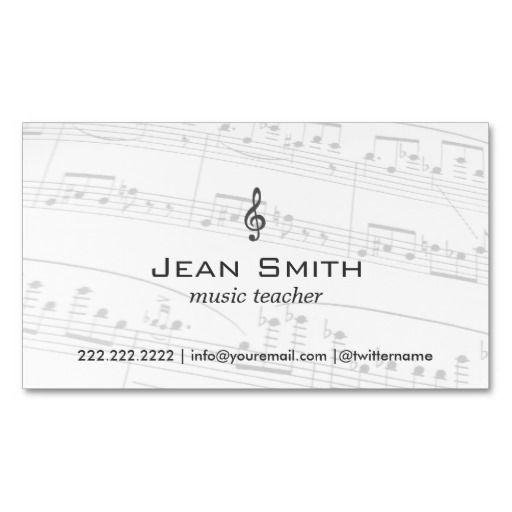 Music Teacher Music Notes Elegant Business Card Music teachers - musician invoice template