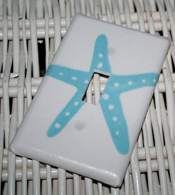 Starfish Wall Decor Pottery Barn : Starfish ocean critters mermaid bedroom switchplate made