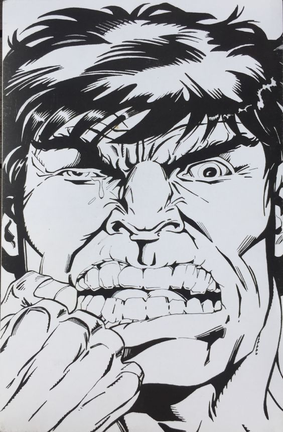 #Hulk #Fan #Art. (B&W Convention Print: Hulk Face) By: HERB TRIMPE. ÅWESOMENESS!!!™ ÅÅÅ+