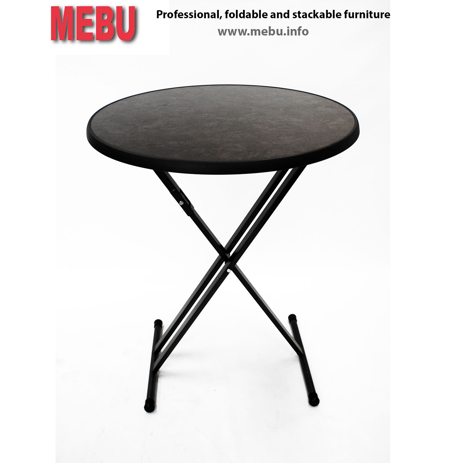 party table twente with Ø85cm sevelit table top pizarra height of