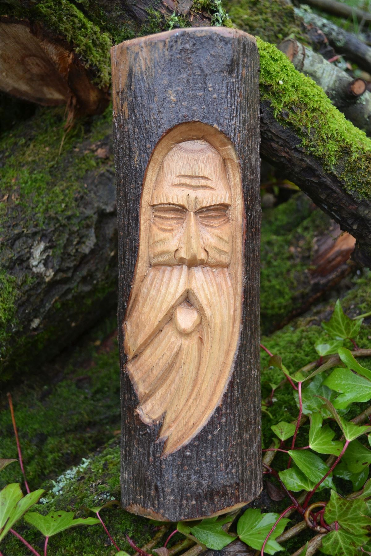 Fair trade hand carved wooden green man owl tree trunk stump log