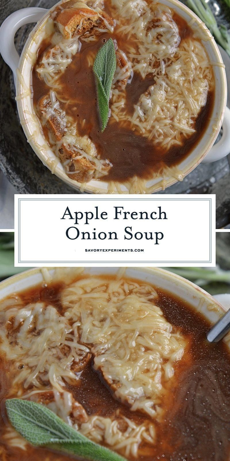 French Onion Soup combines a robust French Onion Soup Recipe using sweet apples for flavor and text