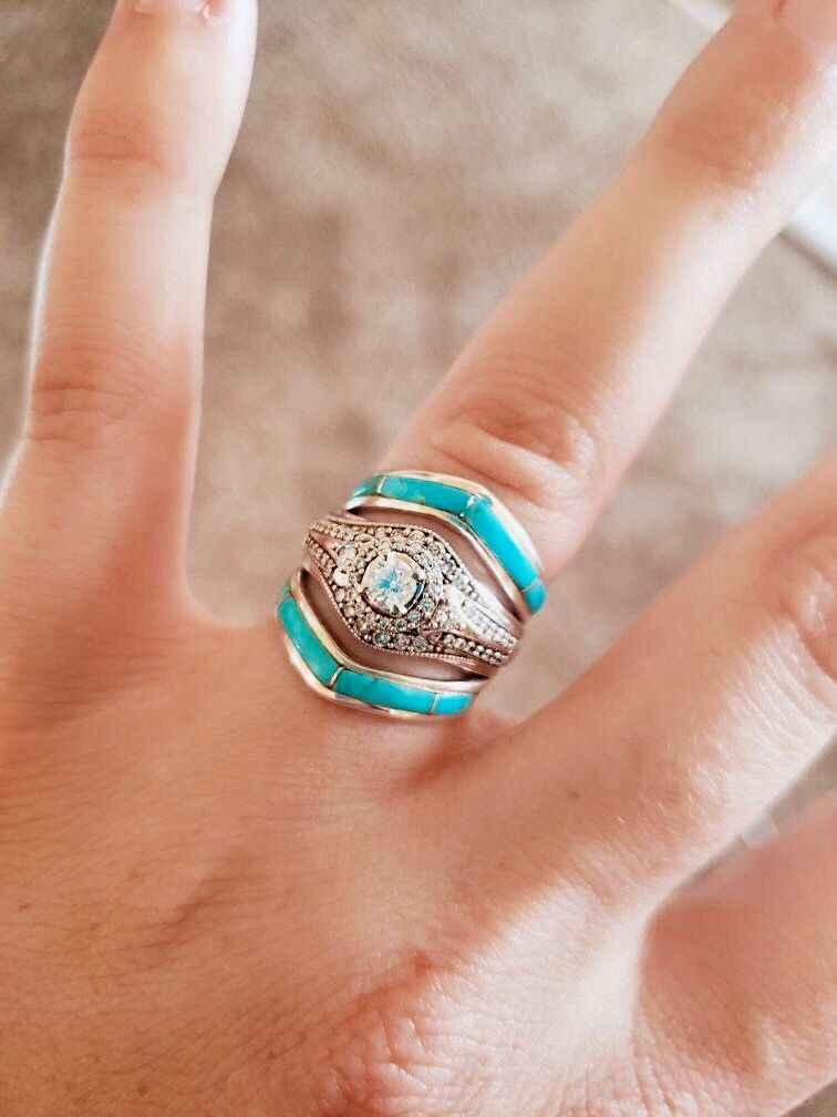 Rts Chevron Stacker Turquoise Wedding Rings Turquoise Stone Jewelry Stacker Rings