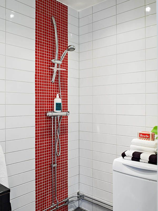 Red White Bathroom Ideas Part - 33: Decorations,Stunning Red And White Marble Wall Design Ideas For Bathroom  With Elegant Stainless Head Shower Inspirations,Enchanting Red Bathroom  Design ...