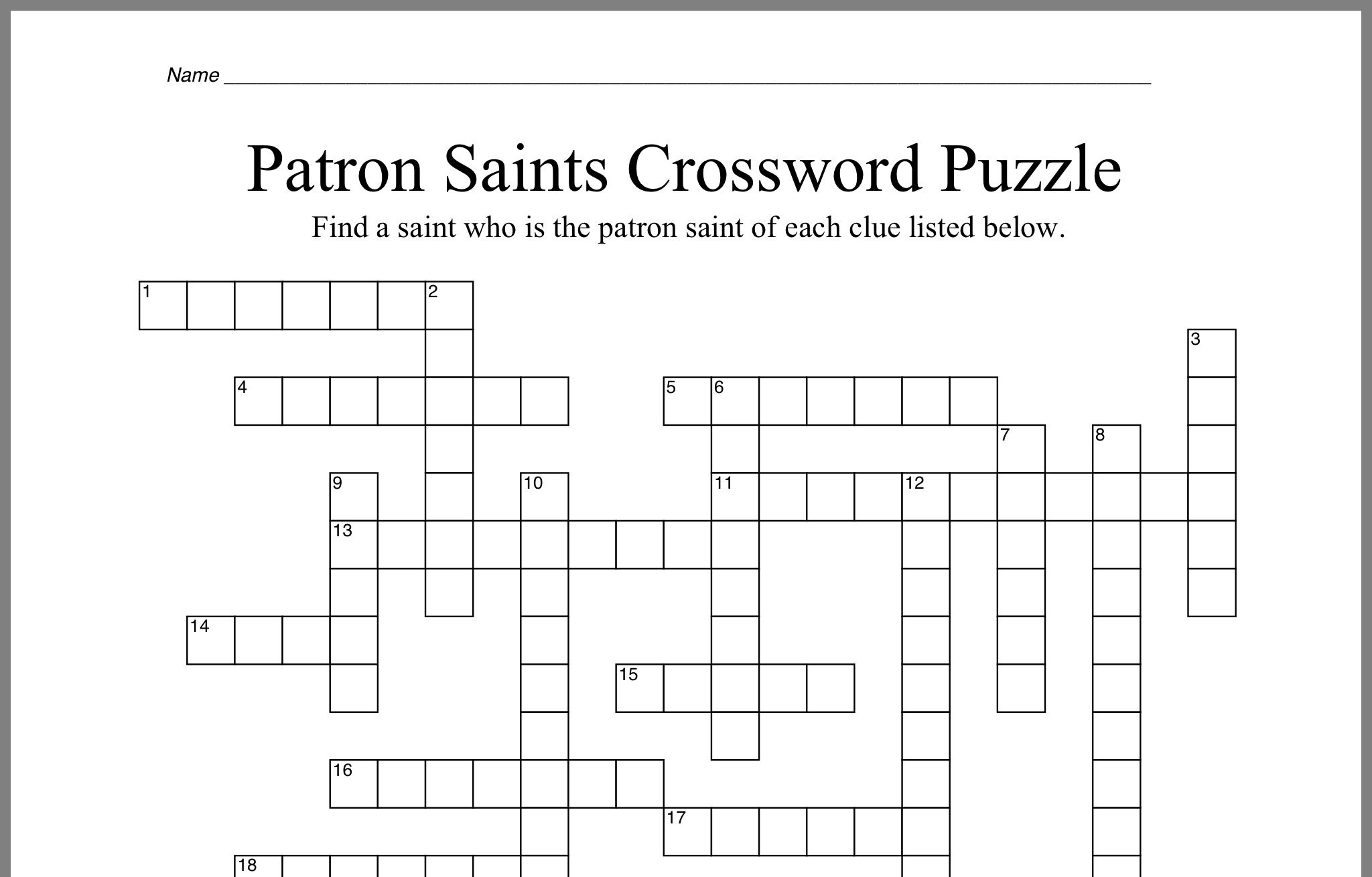 Pin By Jen Mcnicoll Pribaz On Projects To Try Crossword Crossword Puzzle Patron Saints