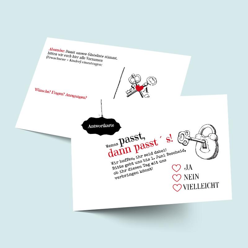 Antwortkarten zur Hochzeit - Idee & Tipp: Schlüssel zum Glück