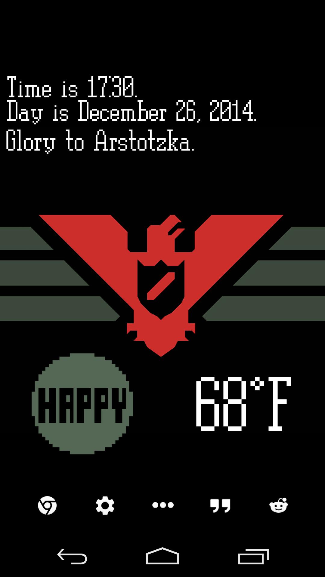 Glory to Arstotzka Glory, Android theme, Words