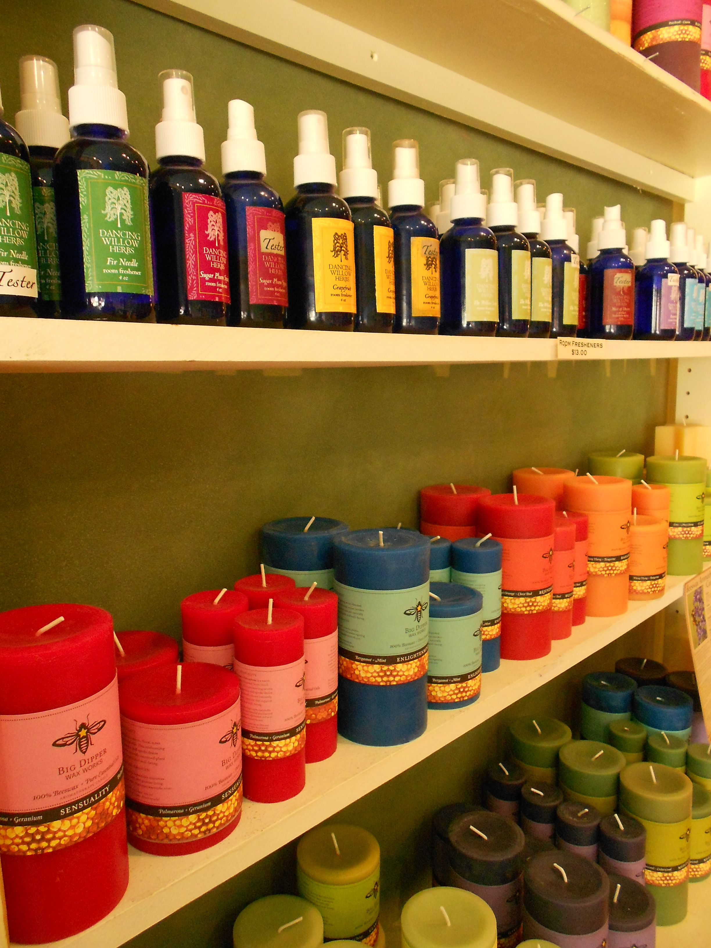 The colorful rainbow of our room and body sprays coupled with Big Dipper Candles