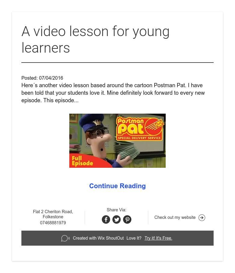 A video lesson for young learners