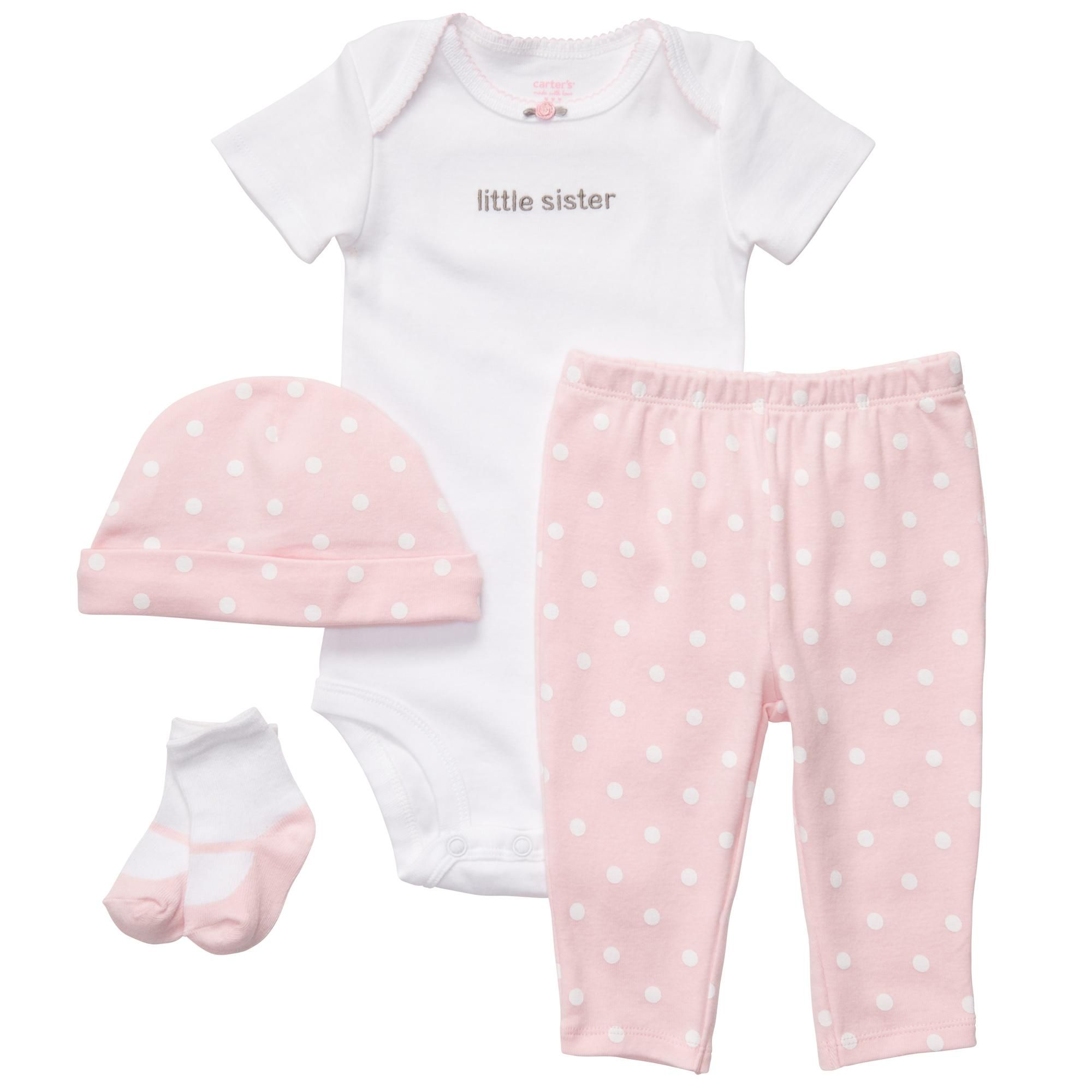 Cozy little sister layette newborn cotton body suit leggings pants