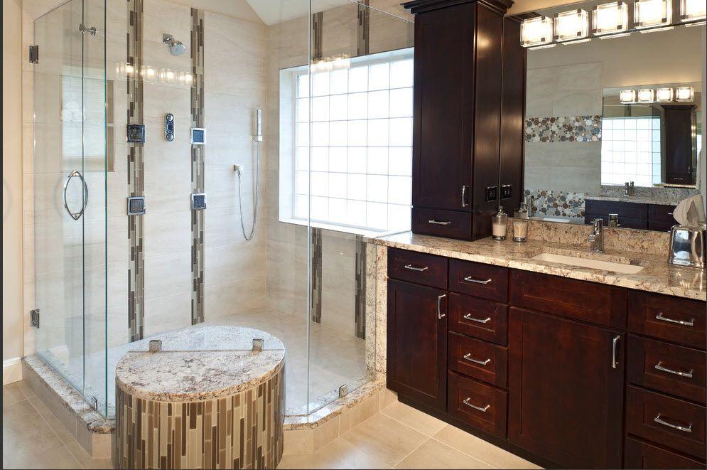 Hi tech master bath with kabinart arts crafts cabinets for Bath remodel hawaii