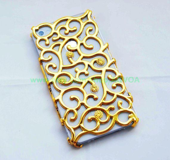 Golden Curve IPhone 4 Cases For Girls With Flower Fit