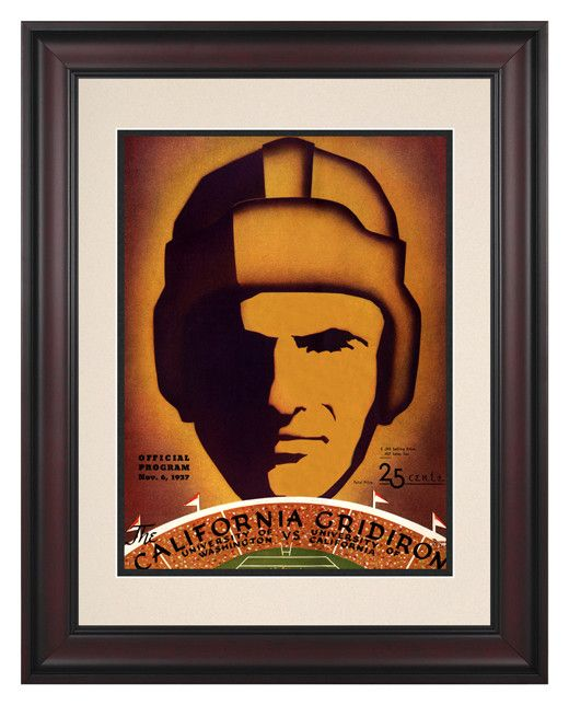 1937 California Bears vs Washington Huskies 10 1/2 x 14 Framed Historic Football Print