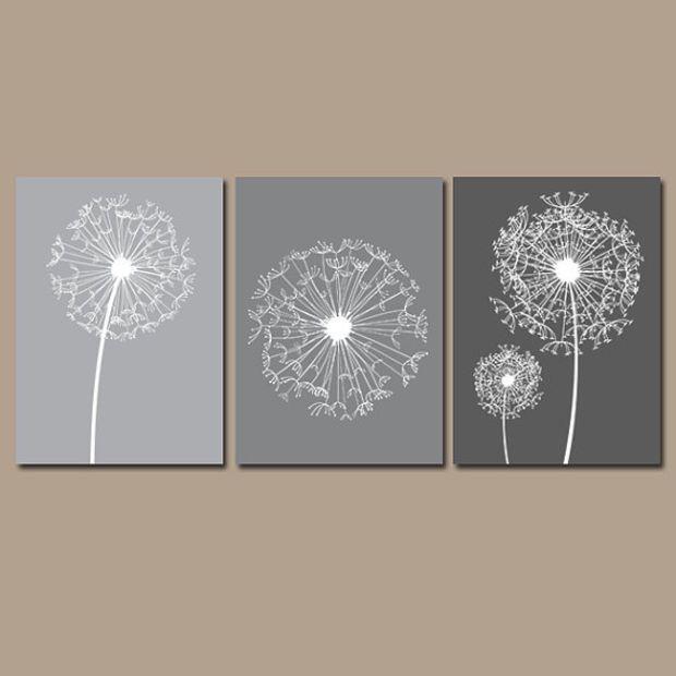 dandelion wall art flower artwork charcoal gray tones. Black Bedroom Furniture Sets. Home Design Ideas