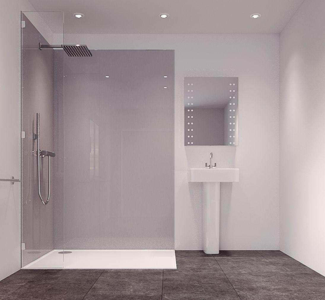 Splashwall Metallic Grey Single Shower Panel Lmm Wmm T - Aquaboard shower panels