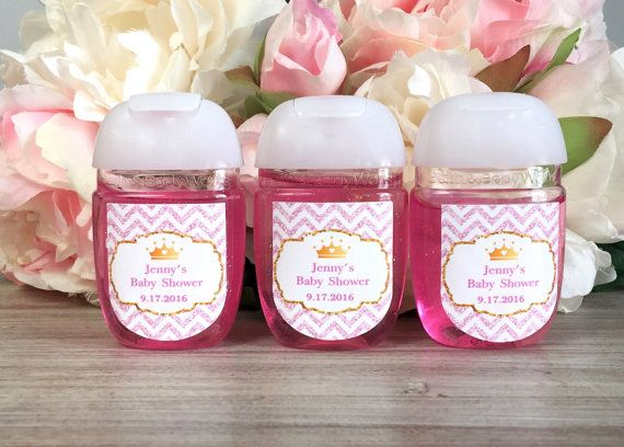 Princess Party Hand Sanitizer Label Pink And Gold Hand Sanitizer