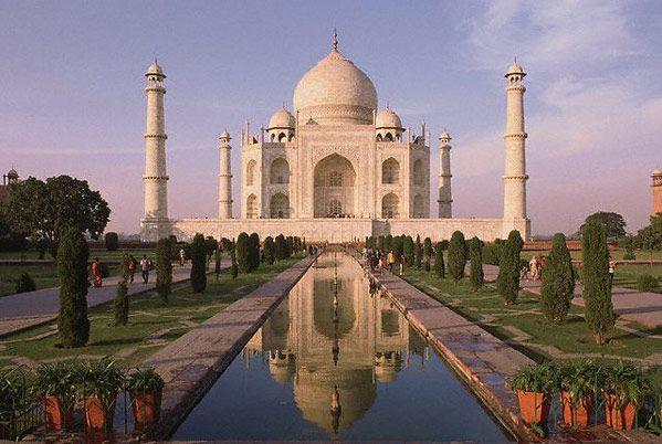 The Taj Mahal in India at dusk.
