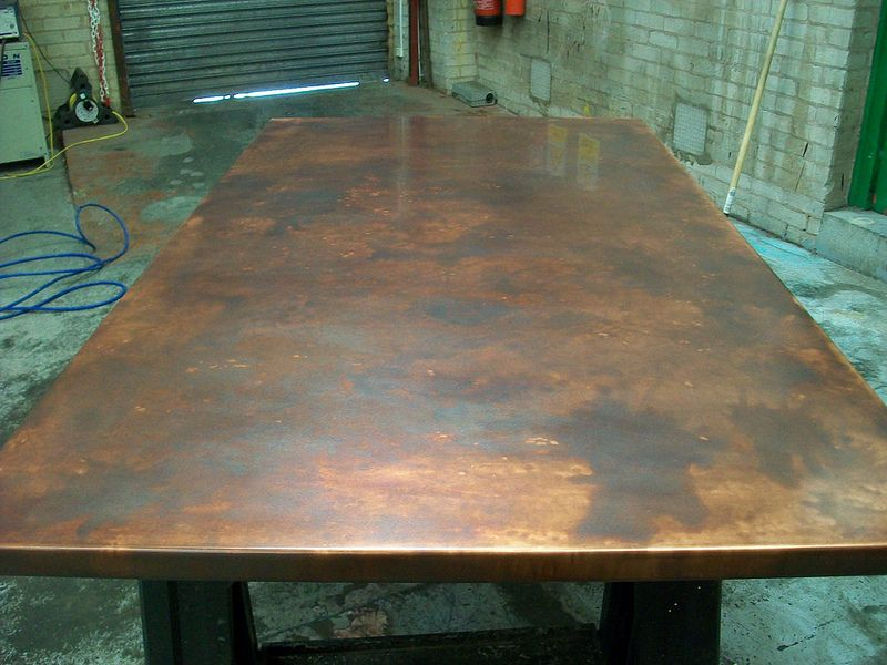 17 bronze aged copper table top variation of patina finish 160cm x 90cm bronze age tables. Black Bedroom Furniture Sets. Home Design Ideas
