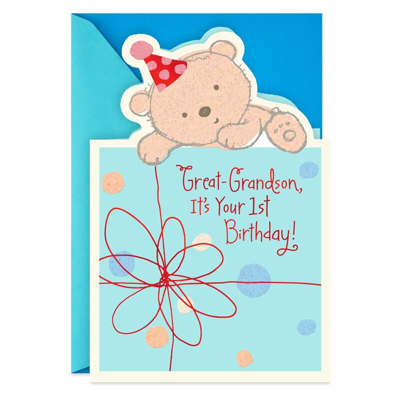 Baby Bear 1st Birthday Card for GreatGrandson in 2020