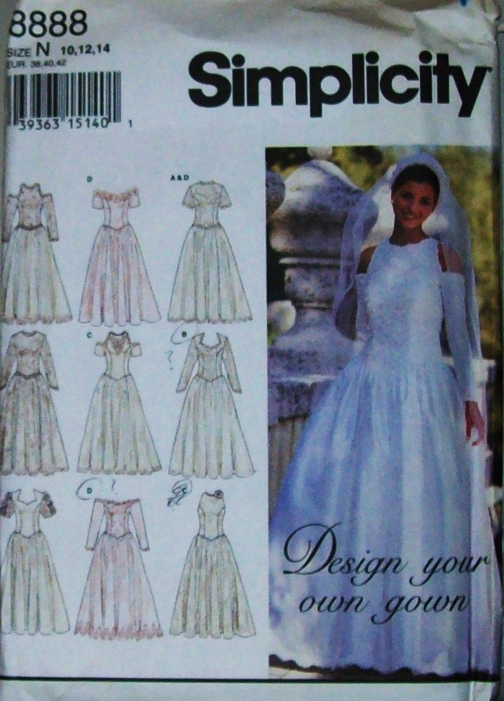 Simplicity Pattern 8888 MS 10 14 Design Your Own Wedding Bridal Gown ...