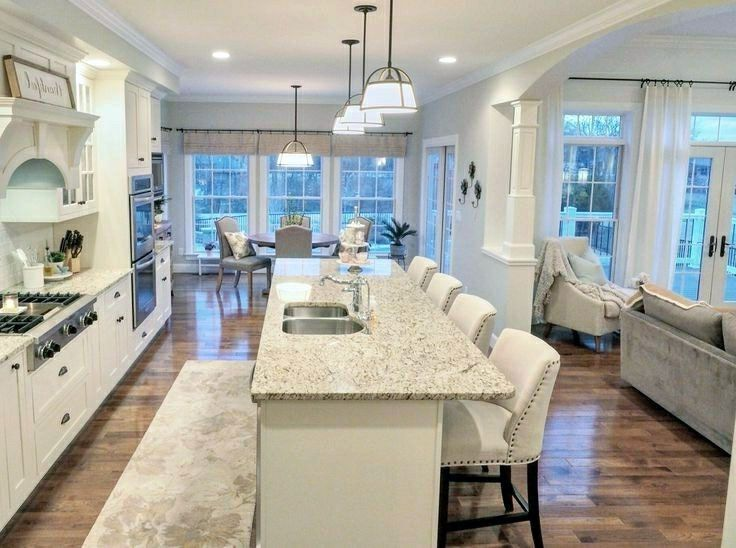 Gorgeous Open Concept Galley Kitchen With Island On This Favorite Site Open Concept Kitchen Living Room Kitchen Floor Plans Kitchen Designs Layout