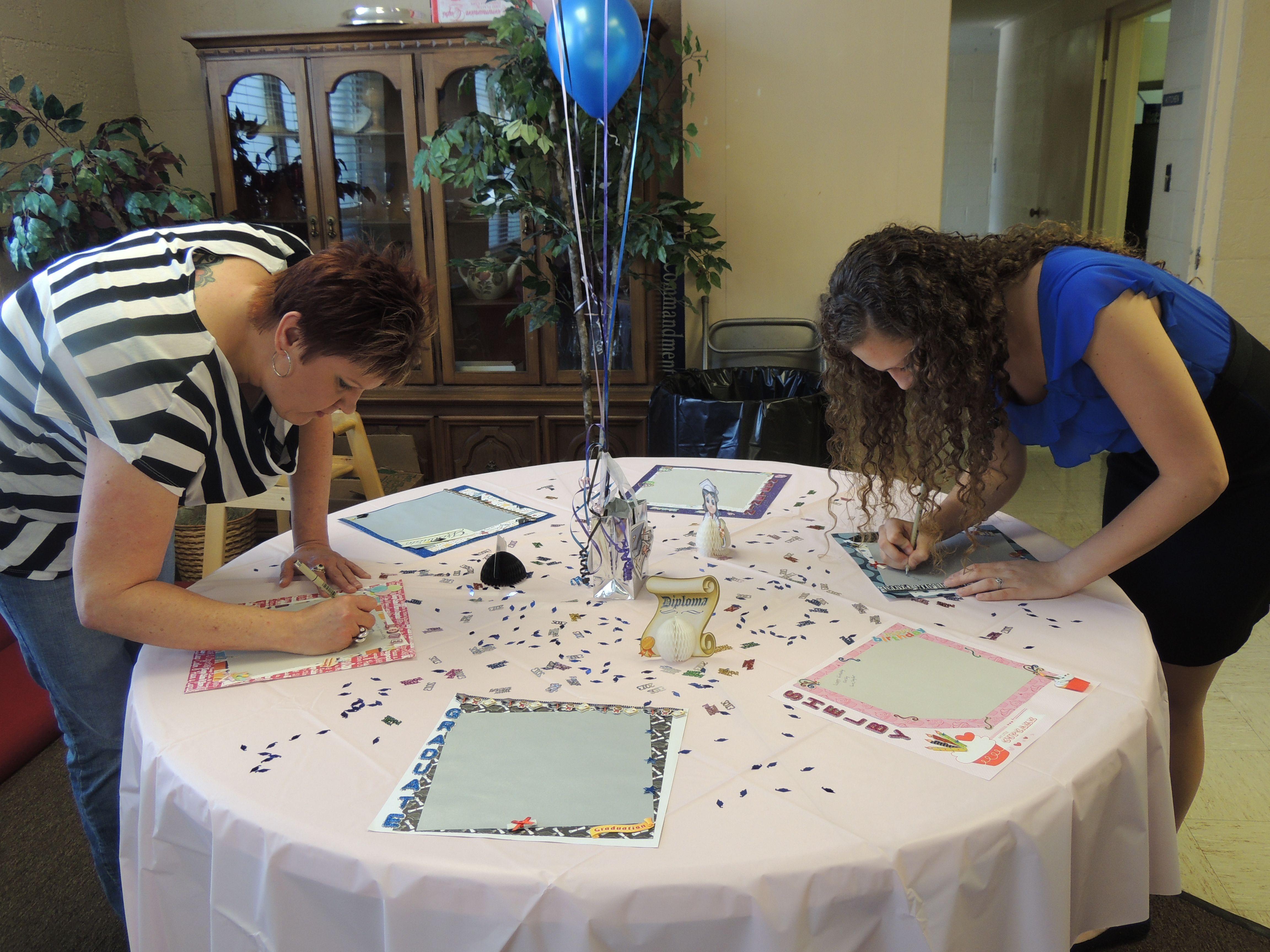 Graduation scrapbook ideas pinterest - Graduation Birthday Sign In Table Balloons Confetti Scrapbook Pages Decorations