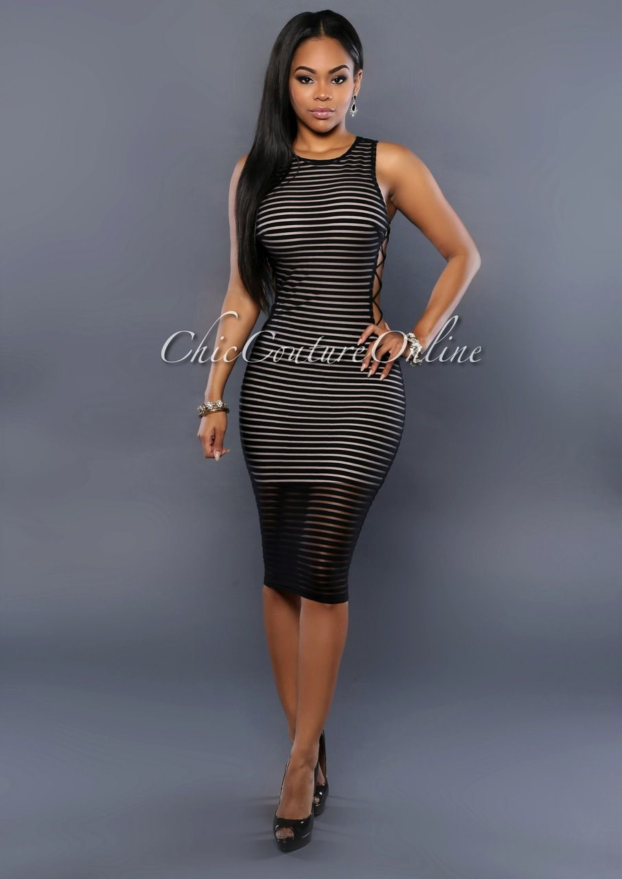 455b5a50fe902 Chic Couture Online - Madrid Black Ribbed Nude CrissCross Sides Dress,  (http:/