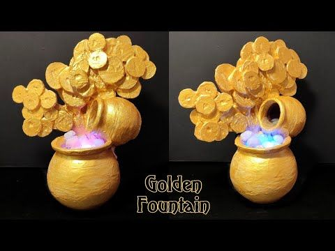 Awesome Indoor Golden Water Fountain with Money Plant | Indoor Golden Water Fountain