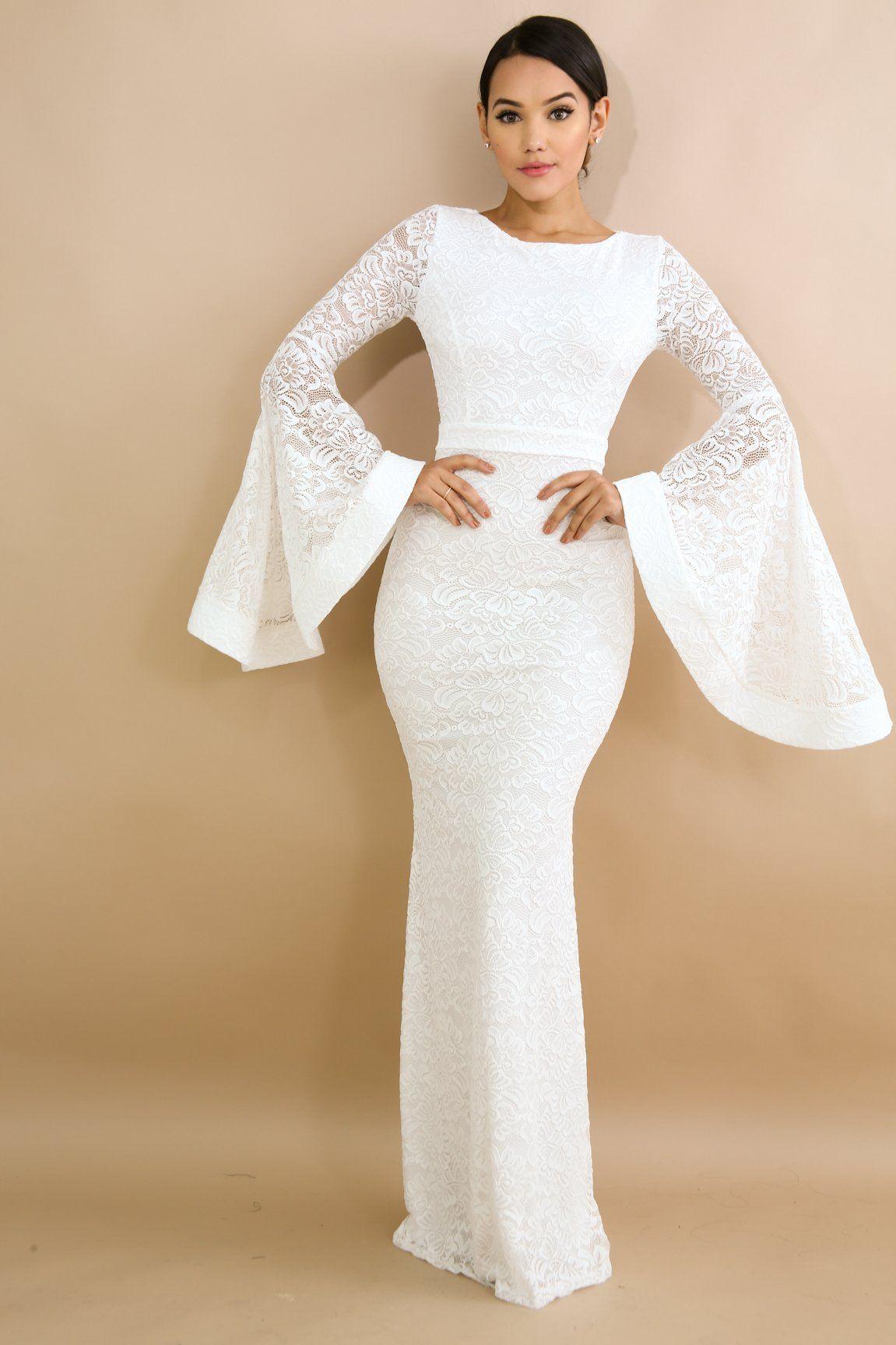 Romantic night sheer long sleeve bell mermaid maxi dress ivory