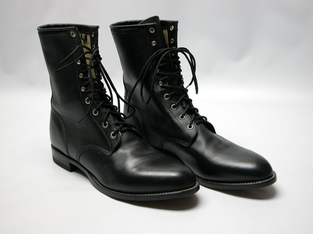 Justin 506 Mens 11 5 D Black Leather Lace Up Boots Western Cowboy