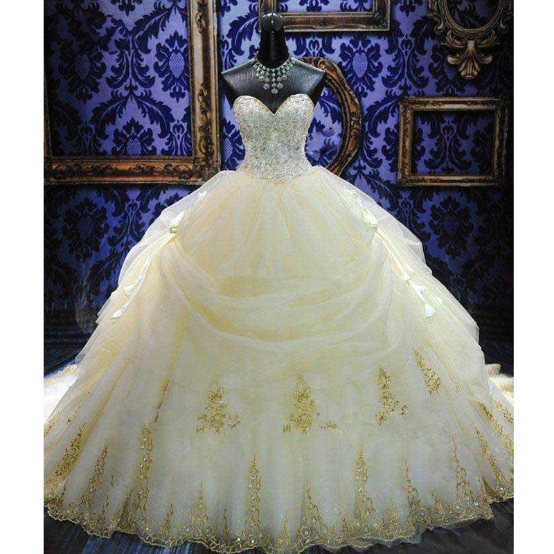 Royal Train Wedding Dresses with Gold Embroidery Silver Beads ...