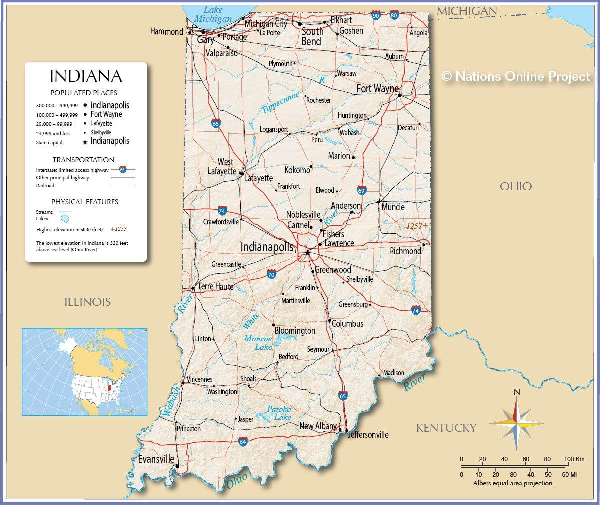 Map Usa Indiana - 101 Travel Destinations   101 Travel ...