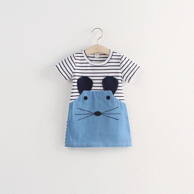 Kids Children Long Sleeve Striped Denim T-shirt Dress Girls Casual Dress New