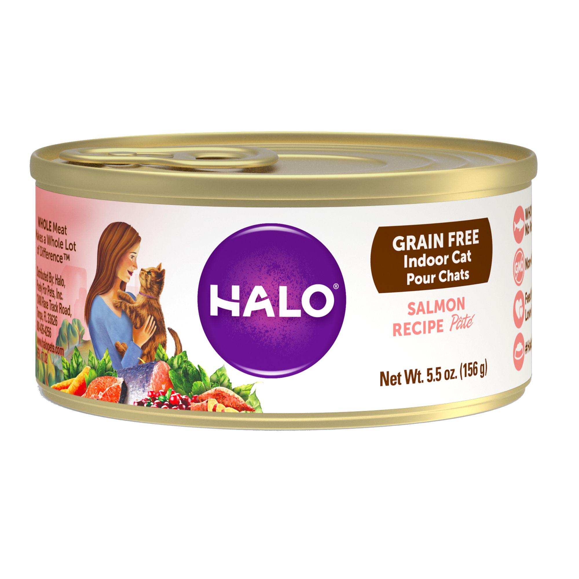 Halo indoor cat food natural grain free salmon recipe