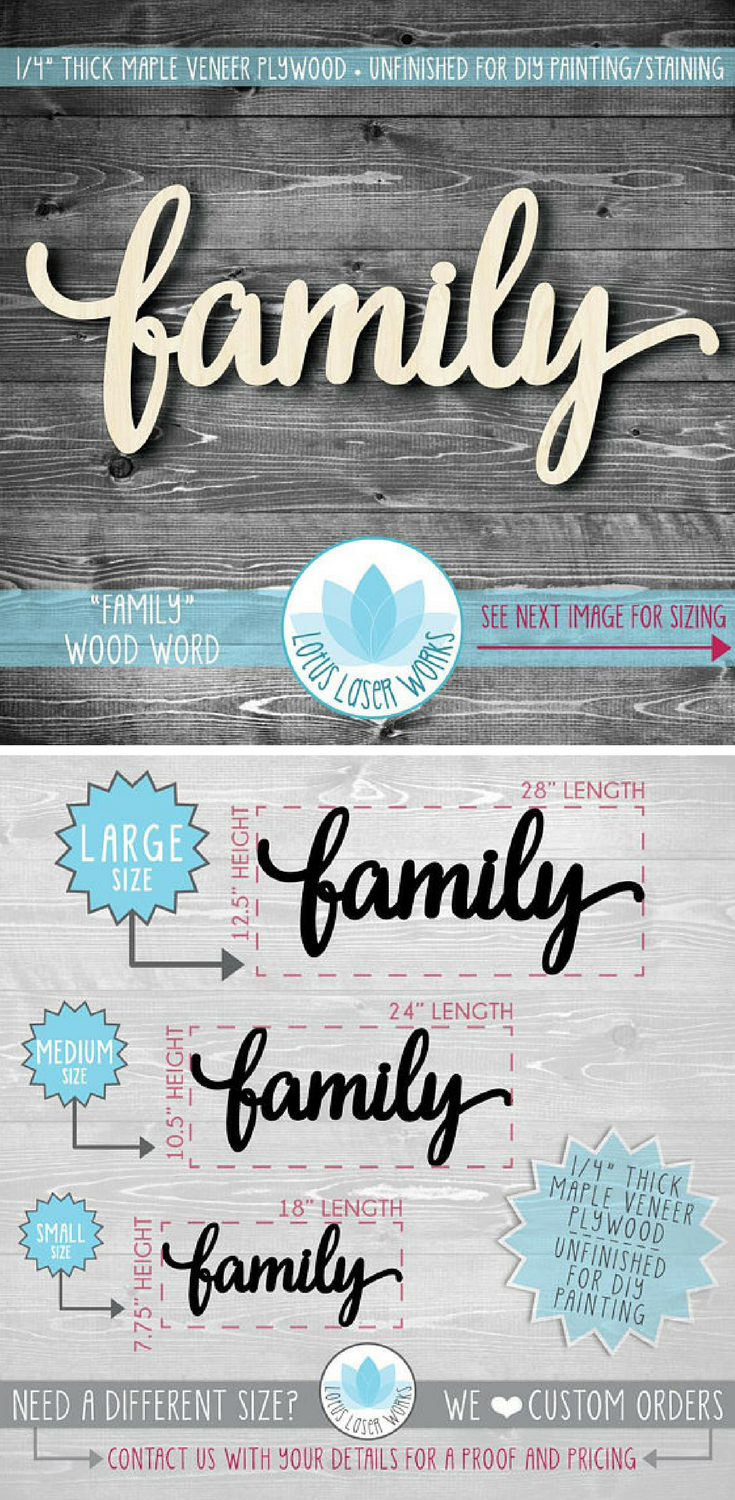 Large Wood Word Family Gallery Wall Wooden Words Large Wooden