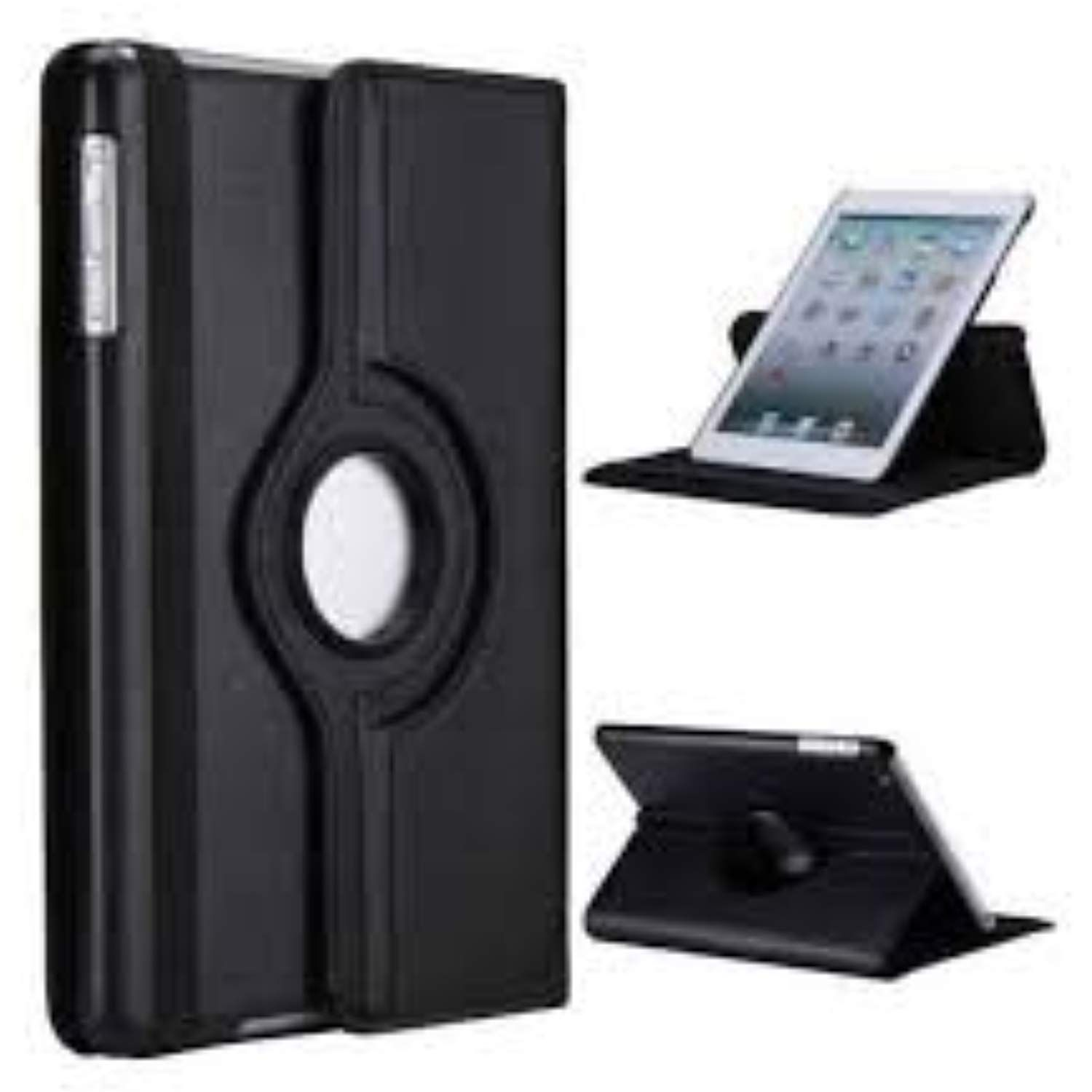 Black Rotating 360 Degree Leather Case Cover With Screen Protector For Ipad 2 3 4 And Stylus Pen